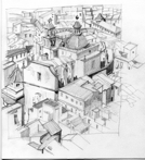 Alicante rooftops, pencil.