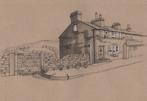 Hepworth Old Co-op from Towngate, ink drawing, SOLD