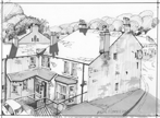 Holmfirth sketchbook II - Two pubs, ink
