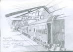 Kuranda railway station, Queensland, pencil, 22x15 cm .