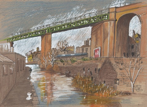Longroyd Bridge Railway Viaduct and Canal, ink and coloured pencil, SOLD