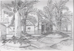 Plaza Perez Galdos, Puerto de la Cruz, pencil sketch