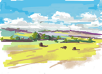 Yorkshire wolds from the train to Scarborough, iPad Brushes